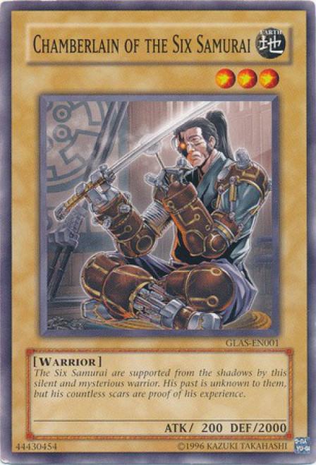 YuGiOh GX Trading Card Game Gladiator's Assault Common Chamberlain of the Six Samurai GLAS-EN001