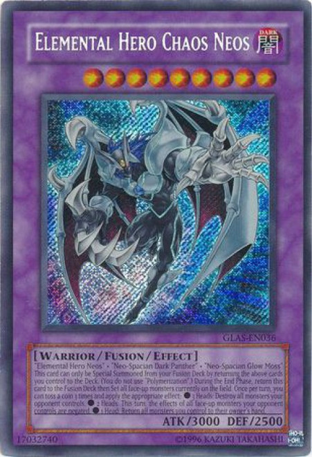 YuGiOh GX Trading Card Game Gladiator's Assault Secret Rare Elemental Hero Chaos Neos GLAS-EN036