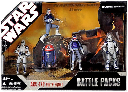 Star Wars The Clone Wars Battle Packs 2007 ARC-170 Elite Squad Exclusive Action Figure 5-Pack