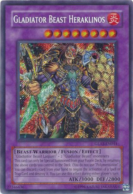 YuGiOh GX Trading Card Game Gladiator's Assault Secret Rare Gladiator Beast Heraklinos GLAS-EN044