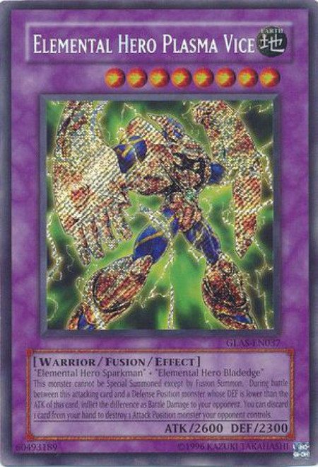YuGiOh GX Trading Card Game Gladiator's Assault Secret Rare Elemental Hero Plasma Vice GLAS-EN037
