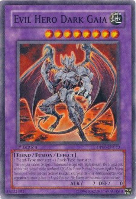 YuGiOh GX Trading Card Game Duelist Pack Jaden Yuki 3 Common Evil Hero Dark Gaia DP06-EN010