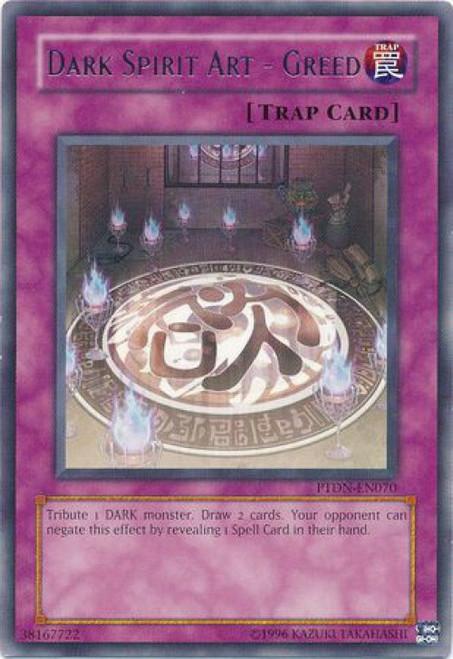 YuGiOh GX Trading Card Game Phantom Darkness Rare Dark Spirit Art - Greed PTDN-EN070