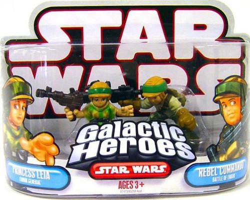 Star Wars Return of the Jedi Galactic Heroes 2007 Princess Leia & Rebel Commander Mini Figure 2-Pack [Battle of Endor]
