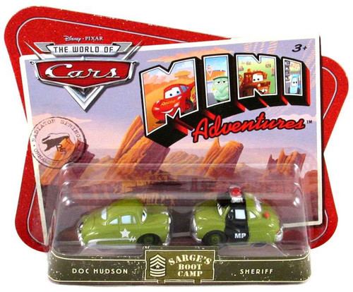 Disney / Pixar Cars The World of Cars Mini Adventures Doc & Sheriff Plastic Car 2-Pack [Sarge's Boot Camp]