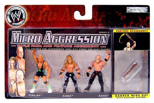 WWE Wrestling Micro Aggression Series 8 Kane, Edge & Finlay Mini Figure 3-Pack [Barbed Wire Bat]