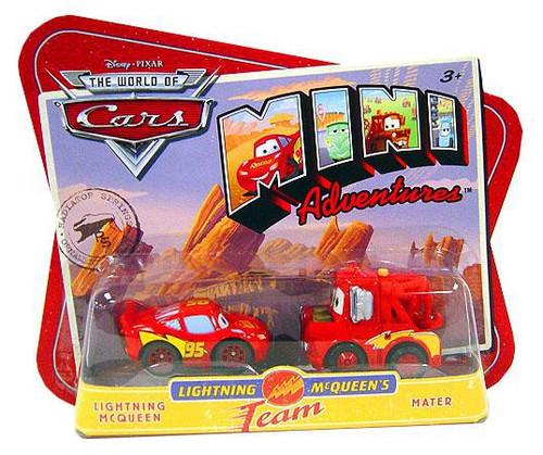 Disney / Pixar Cars The World of Cars Mini Adventures Lightning McQueen's Team Plastic Car 2-Pack [McQueen & Mater]