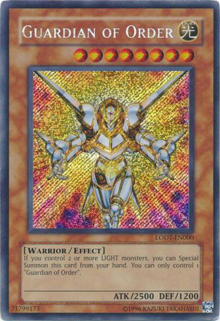 YuGiOh GX Trading Card Game Light of Destruction Secret Rare Guardian of Order LODT-EN000