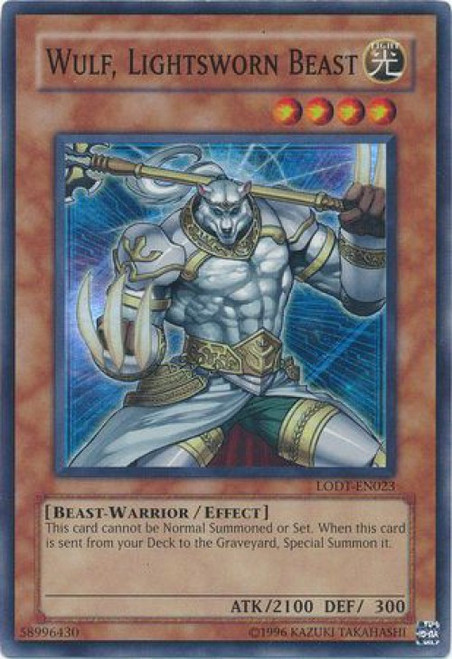 YuGiOh GX Trading Card Game Light of Destruction Super Rare Wulf, Lightsworn Beast LODT-EN023