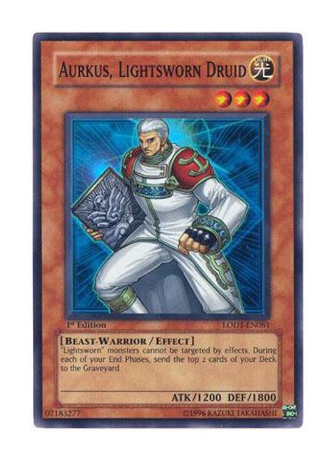 YuGiOh GX Trading Card Game Light of Destruction Super Rare Aurkus, Lightsworn Druid LODT-EN081