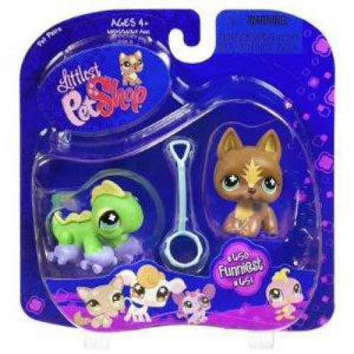 Littlest Pet Shop Pet Pairs German Shepherd & Iguana Figure 2-Pack #650, 651 [Roller Skates]