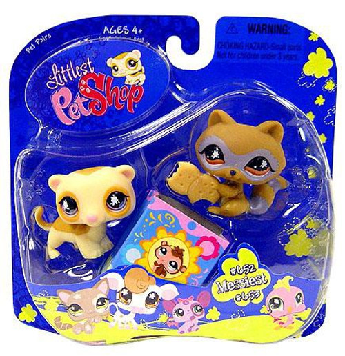 Littlest Pet Shop Pet Pairs Raccoon & Ferret Figure 2-Pack #652, 653