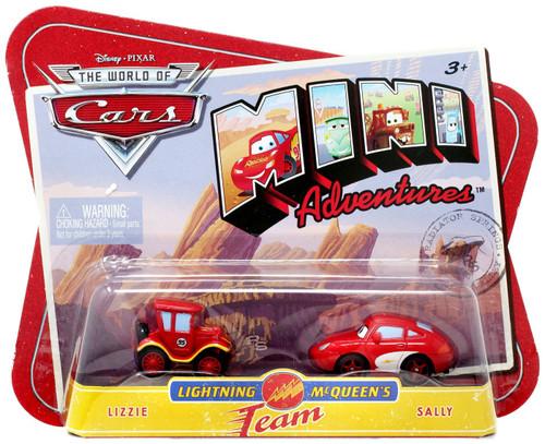 Disney / Pixar Cars The World of Cars Mini Adventures Lightning McQueen's Team Plastic Car 2-Pack [Lizzie & Sally]