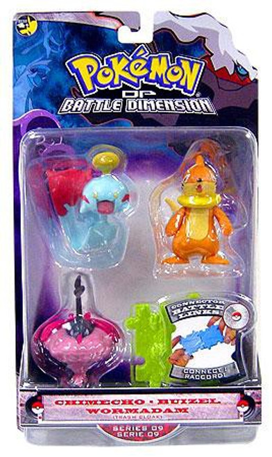 Pokemon Diamond & Pearl Series 9 Chimecho, Buizel & Wormadam [Trash Cloak] Figure 3-Pack
