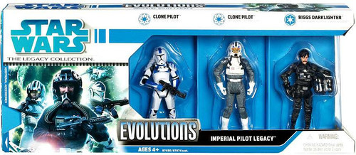 Star Wars Expanded Universe 2008 Legacy Collection Evolutions Imperial Pilot Legacy Action Figure 3-Pack [Biggs Darklighter & 2x Clone Pilots]