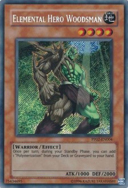 YuGiOh GX Trading Card Game Premium Pack 2 Secret Rare Elemental Hero Woodsman PP02-EN004