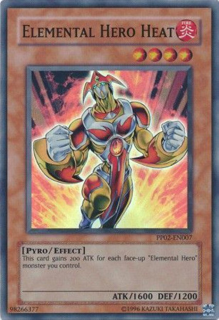 YuGiOh GX Trading Card Game Premium Pack 2 Super Rare Elemental Hero Heat PP02-EN007