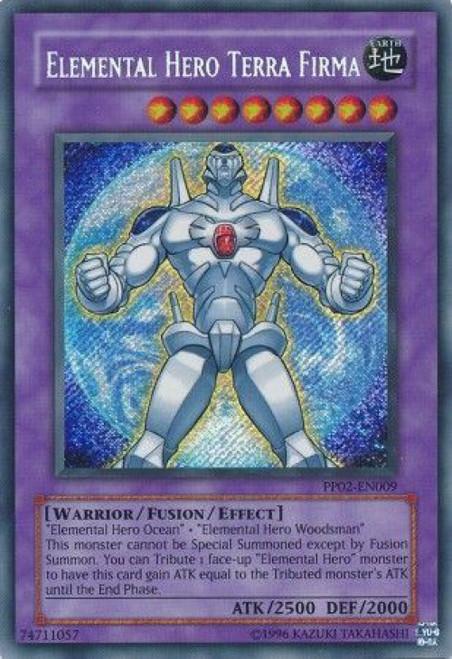 YuGiOh GX Trading Card Game Premium Pack 2 Secret Rare Elemental Hero Terra Firma PP02-EN009
