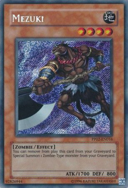 YuGiOh GX Trading Card Game Premium Pack 2 Secret Rare Mezuki PP02-EN016