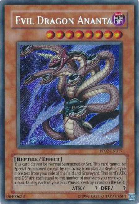 YuGiOh GX Trading Card Game Premium Pack 2 Secret Rare Evil Dragon Ananta PP02-EN017