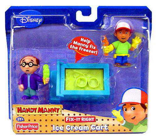 Fisher Price Disney Handy Manny Fix-It Right Ice Cream Cart Figure 2-Pack