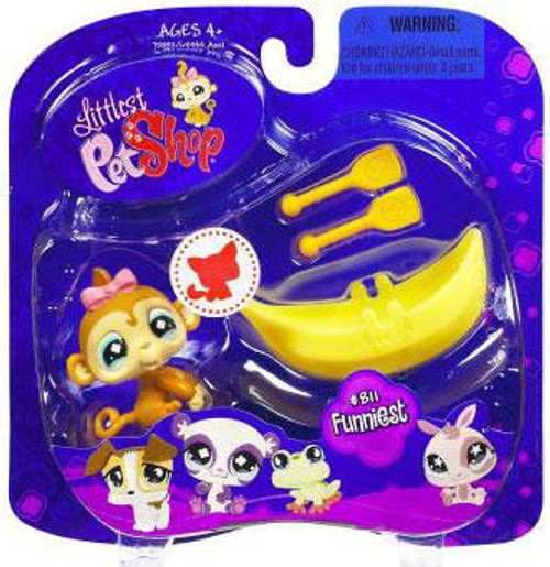 Littlest Pet Shop 2009 Assortment A Series 2 Monkey Figure #811 [Banana Boat & Oars]