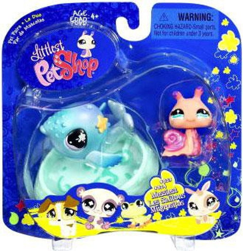 Littlest Pet Shop 2009 Assortment B Series 1 Snail & Whale Figure 2-Pack #834, 835
