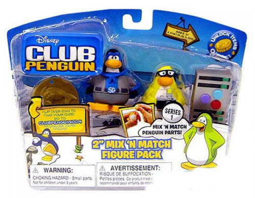 Club Penguin Mix 'N Match Series 1 Shadow Guy & Mild Mannered Reporter Mini Figure Set