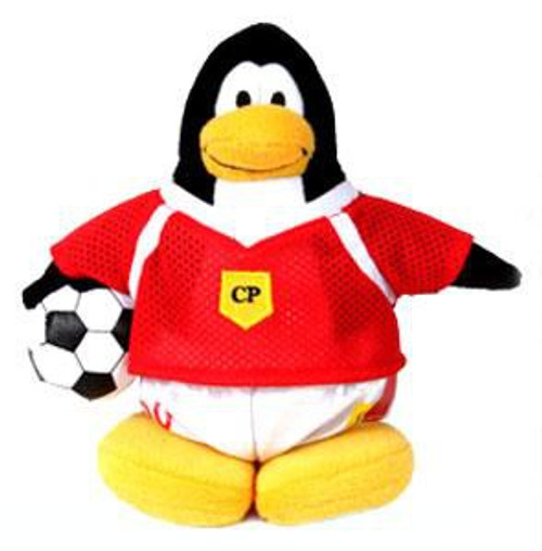 Club Penguin Boy Soccer Player 6.5-Inch Plush Figure [Red Jersey]
