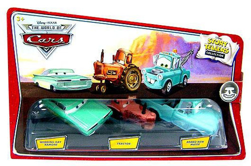 Disney / Pixar Cars The World of Cars Story Tellers Wedding Day Ramone, Tractor & Brand New Mater Diecast Car 3-Pack