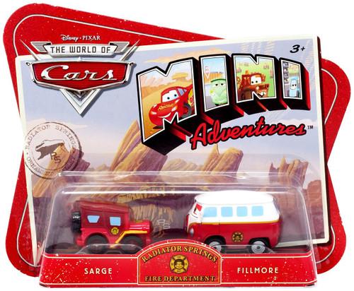 Disney / Pixar Cars The World of Cars Mini Adventures Radiator Springs Fire Department Plastic Car 2-Pack [Sarge & Fillmore]