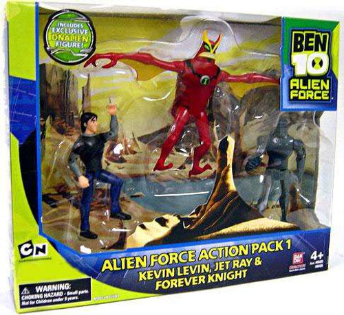 Ben 10 Alien Force Kevin 11, Jet Ray & Forever Knight Exclusive Action Figure 3-Pack [Pack 1]