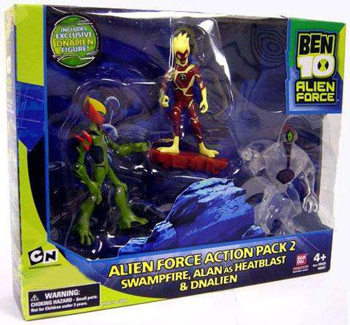 Ben 10 Alien Force Swampfire, Alan as Heatblast & DNAlien Exclusive Action Figure 3-Pack [Pack 2, Set #1]