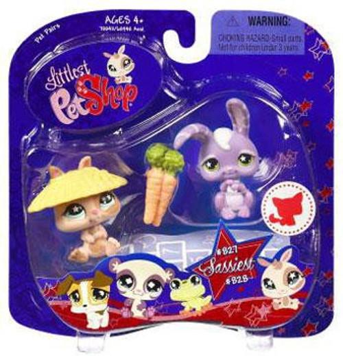 Littlest Pet Shop Pet Pairs Bunny Figure 2-Pack #827, 828 [Tan & Purple]