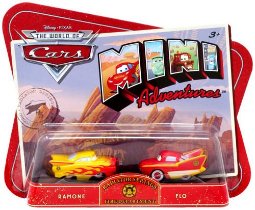 Disney / Pixar Cars The World of Cars Mini Adventures Radiator Springs Fire Department Plastic Car 2-Pack [Ramone & Flo]