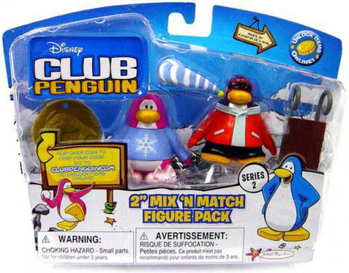 Club Penguin Mix 'N Match Series 2 Pajama Bunny Slippers & Snowboarder Mini Figure Set