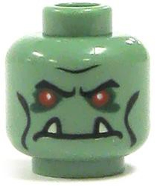 Sand Green with Red Eyes & Tusks Minifigure Head [Loose]