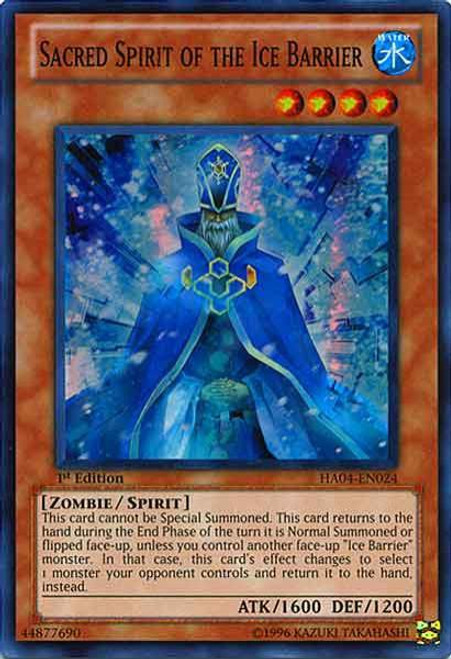 YuGiOh Hidden Arsenal 4: Trishula's Triumph Super Rare Sacred Spirit of the Ice Barrier HA04-EN024