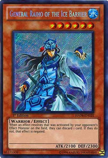 YuGiOh Hidden Arsenal 4: Trishula's Triumph Secret Rare General Raiho of the Ice Barrier HA04-EN025