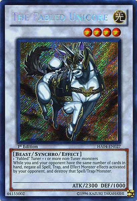 YuGiOh Hidden Arsenal 4: Trishula's Triumph Secret Rare The Fabled Unicore HA04-EN027