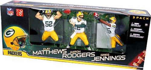 McFarlane Toys NFL Green Bay Packers Sports Picks Clay Matthews, Aaron Rodgers & Greg Jennings Exclusive Action Figure 3-Pack [White Jerseys, Championship]