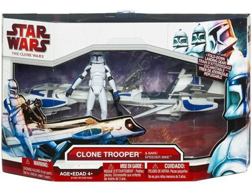 Star Wars The Clone Wars Clone Trooper & Barc Speeder Bike Vehicle & Action Figure [Blue Trim]
