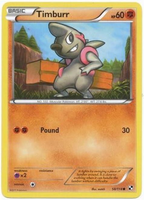 Pokemon Black & White Base Set Common Timburr #58