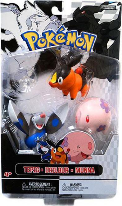 Pokemon Black & White Series 2 Basic Drilbur, Tepig & Munna Figure 3-Pack