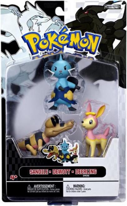 Pokemon Black & White Series 3 Basic Dewott, Pink Deerling {Spring Form} & Sandile Figure 3-Pack