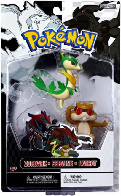 Pokemon Black & White Series 3 Basic Servine, Patrat & Zoroark Figure 3-Pack