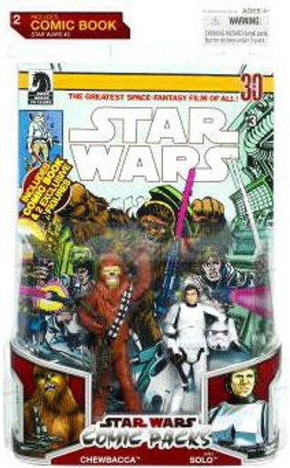 Star Wars A New Hope 2009 Comic Packs Chewbacca & Han Solo in Stormtrooper Armor Action Figure 2-Pack