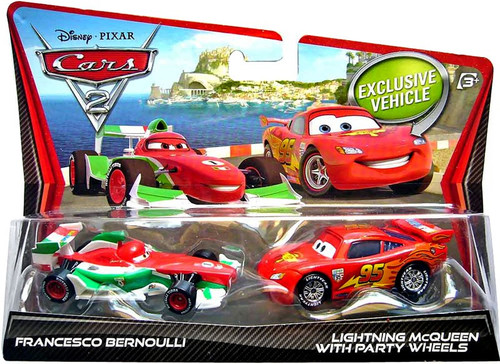 Disney / Pixar Cars Cars 2 Francesco Bernoulli & Lightning McQueen with Party Wheels Diecast Car 2-Pack