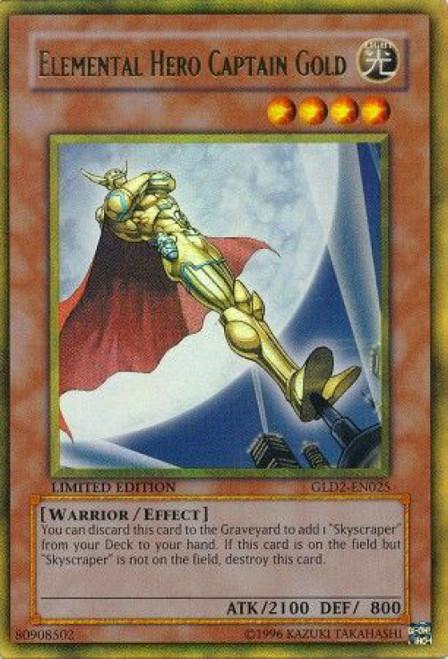 YuGiOh Gold Series 2 2009 Gold Rare Elemental Hero Captain Gold GLD2-EN025