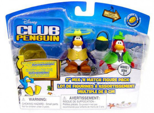 Club Penguin Mix 'N Match Series 3 Leprechaun & Cowboy Mini Figure Set